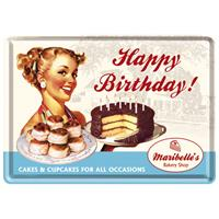 Fiftiesstore Happy Birthday! Cakes Cupcakes Metalen Postkaart