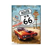 Fiftiesstore Route 66 Rode Auto Magneet