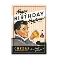 Fiftiesstore Happy Birthday Handsome Metal Postcard