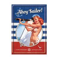 Fiftiesstore Pinup Ahoy Sailor Metal Postcard