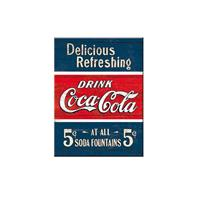 Fiftiesstore Magneet Coca-Cola Delicious Refreshing