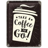 Fiftiesstore Take A Coffee To Go Reliëf Metalen Bord 15 x 20 cm