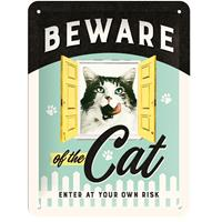 Fiftiesstore Beware Of The Cat, Enter At Your Own Risk Metalen Bord