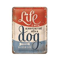 Fiftiesstore Life Is Always Better With A Dog By Your Side Metalen Bord Met Reliëf 15 x 20 cm
