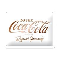 Fiftiesstore Coca Cola Refresh Yourself Metalen Bord Met Reliëf 15 x 20 cm