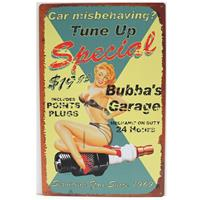 Fiftiesstore Tune Up Special Bubba's Garage Metalen Bord 20 x 30 cm