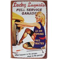 Fiftiesstore Lucky Lugnuts Full Service Garage Pin-Up Metalen Bord 20 x 30 cm