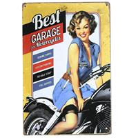 Fiftiesstore Best Garage For Motorcycles Retro Pin-Up Tin Sign 20 x 30 cm