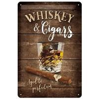 Fiftiesstore Whiskey & Cigars Metalen Bord 20 x 30 cm