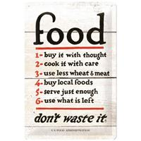 Fiftiesstore Food Rules Don't Waste It Metalen Bord 20 x 30 cm