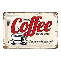 Fiftiesstore Strong Coffee Served Here Metalen Bord