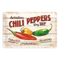 Fiftiesstore Autenticos Chili Peppers Very Hot Metalen Bord 20 x 30 cm