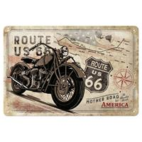 Fiftiesstore Route 66 Bike Map Metalen Bord 20 x 30 cm