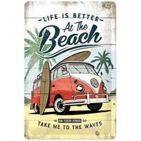 Fiftiesstore Volkswagen VW Life Is Better At The Beach Metalen Bord 20 x 30 cm