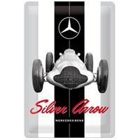 Fiftiesstore Mercedes-Benz Silver Arrow Metalen Bord 20 x 30 cm