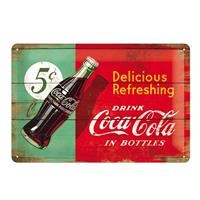Fiftiesstore Metal SignDrink Coca-Cola in Bottles' Wood Look 20 x 30 cm