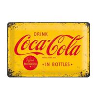 Fiftiesstore Metal SignDrink Coca-Cola' Yellow 20 x 30 cm