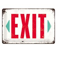 Fiftiesstore Tin Sign 'Exit' 20 x 30 cm