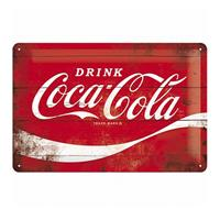 Fiftiesstore Metal SignDrink Coca-Cola' Wood Look 20 x 30 cm