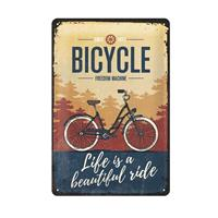 Fiftiesstore Bicycle Life Is A Beautiful Ride Metalen Bord 20 x 30 cm