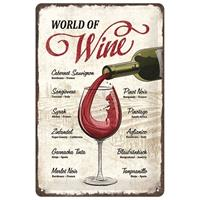 Fiftiesstore World Of Wine Metal Sign 20 x 30 cm