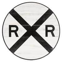 Fiftiesstore Railroad Crossing Houten Bord