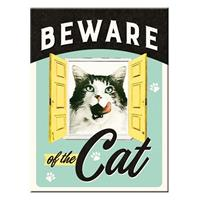 Fiftiesstore Beware Of The Cat Magneet