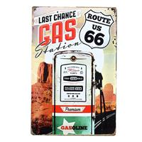 Fiftiesstore Route 66 Last Chance Gas Station Metalen Postkaart