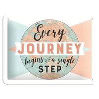 Fiftiesstore Every Journey Begins With A Single Step Metalen Bord