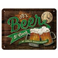 Fiftiesstore It's Beer O'Clock At Least Somewhere Metalen Bord 15 x 20 cm