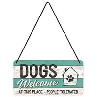 Fiftiesstore Dog Welcome, At This Place People Tolerated Hanging Metal Sign 10 x 20 cm