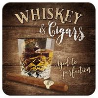Fiftiesstore Whiskey & Cigars Metalen Onderzetters Set