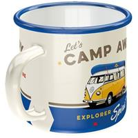 Fiftiesstore Emaille Beker Volkswagen Bulli Let's Camp Away