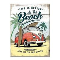 Fiftiesstore Volkswagen Bulli Life Is Better At The Beach Magneet