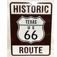 Fiftiesstore Historic Route 66 Texas Snelweg Bord - Reflecterend