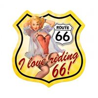 Fiftiesstore Route 66 I Love Riding 66 Pin-Up Zwaar Metalen Bord 37,5 x 39 cm