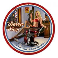 Fiftiesstore Barber Shop Pin-Up Open Late Zwaar Metalen Bord - Greg Hildebrandt