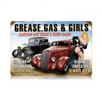 Fiftiesstore Grease, Gas & Girls Hot Rods Pin Up Zwaar Metalen Bord