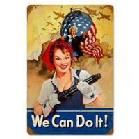 Fiftiesstore We Can Do It USA Heavy Zwaar Metalen Bord 45 x 30 cm