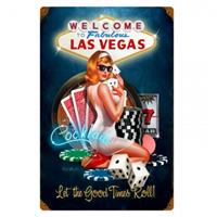 Fiftiesstore Welcome To Fabulous Las Vegas Pin-Up Zwaar Metalen Bord 45 x 30 cm