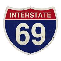 Fiftiesstore Interstate 69 Highway Heavy Gauge Metal Sign