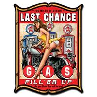 Fiftiesstore Last Chance Gas FillEr Up Pin Up Zwaar Metalen Bord 48 x 35 cm