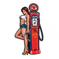 Fiftiesstore Gas Pump Pin-Up Girl Zwaar Metalen Bord 59 x 33 cm