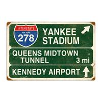 Fiftiesstore New York Yankee Stadium Interstate Zwaar Metalen Bord
