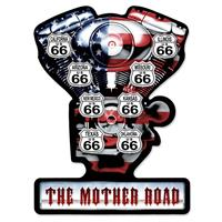 Fiftiesstore V-Twin Route 66 The Mother Road Zwaar Metalen Bord