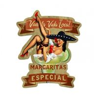 Fiftiesstore Margaritas Especial Pin-Up Zwaar Metalen Bord 59,5 x 41,5 cm