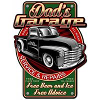 Fiftiesstore Dad's Garage Service And Repairs Zwaar Metalen Bord 60 x 46 cm