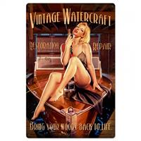 Fiftiesstore Vintage Watercraft Pin-up Zwaar Metalen Bord XL - Greg Hildebrandt