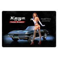 Fiftiesstore Corvette Stingray Fuel Injection Pin Up Heavy Gauge Metalen Bord XL 92 x 61 cm