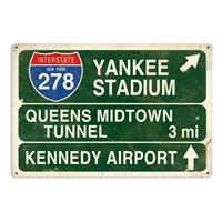 Fiftiesstore Yankee Stadium New York Highway Zwaar Metalen Bord